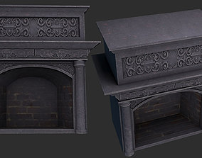 retro 3D model fireplace