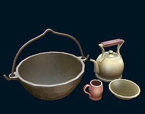 Stylized dishes 3D asset