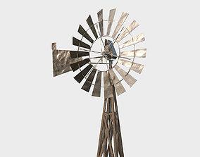Low Poly PBR Wind Pump 3D model