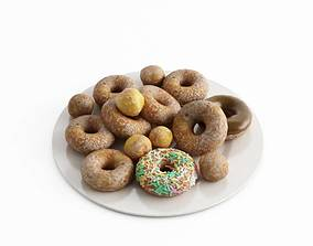 Donuts On White Plate 3D