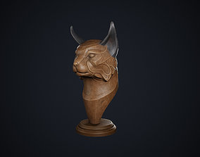 Wooden Lynx Statue 3D model VR / AR ready
