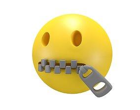 3D asset Zipper-Mouth Face