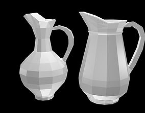 Low poly pitchers 3D asset