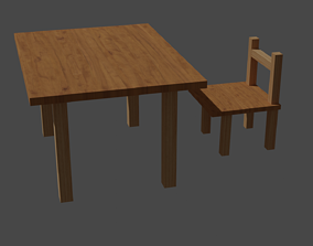 Wood table and chair 3D asset game-ready