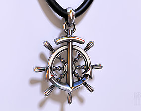 pendant steering wheel with anchor 3D print model