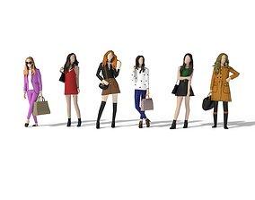 3D asset Low Poly Modern Girls Pack