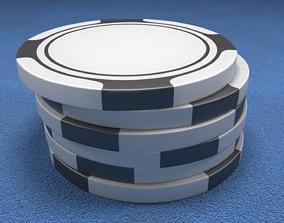 3D model Poker Chips Black and White