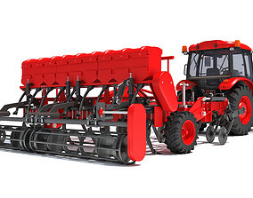 Tractor with Seed Drill 3D harvester