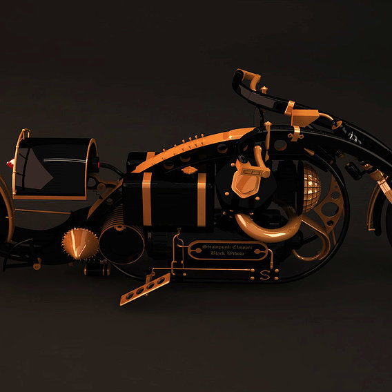 Steampunk chopper black widow