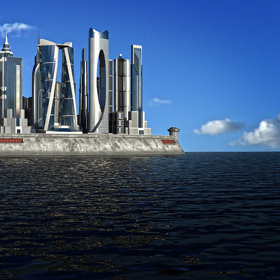Small concrete island with skyscrapers