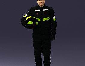Biker in motorcycle jacket and helmet 0095 3D Print Ready