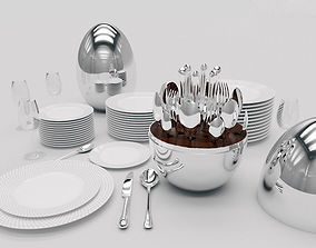 Cutlery set dishes 3D