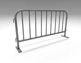 3D asset game-ready Metal traffic fence
