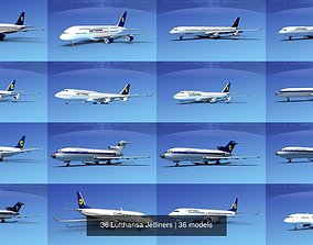 3D model 36 Lufthansa Jetliners