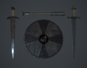 3D model VR / AR ready Set medieval weapons