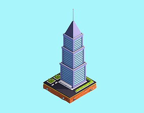 3D asset game-ready Cartoon Low Poly Skyscraper
