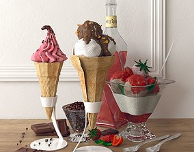 3D model ice cream set