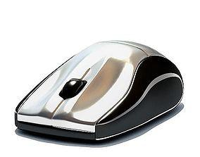 Mouse Wireless Silver Metallic 3D