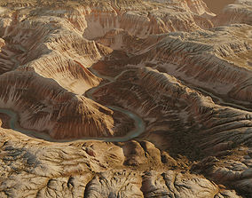 3D Terrain Canyon with river - 16k scene