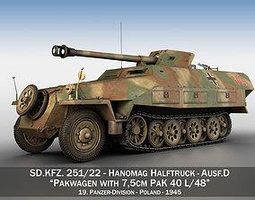3D model SDKFZ 251 22 - Ausf D - Pakwagen - 19 PzDiv