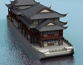 3D Chinese Houseboat
