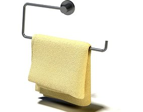 Yellow Hanging Folded Towel 3D model