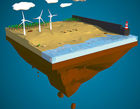 3D asset Floating Island of Desert Beach with windmills
