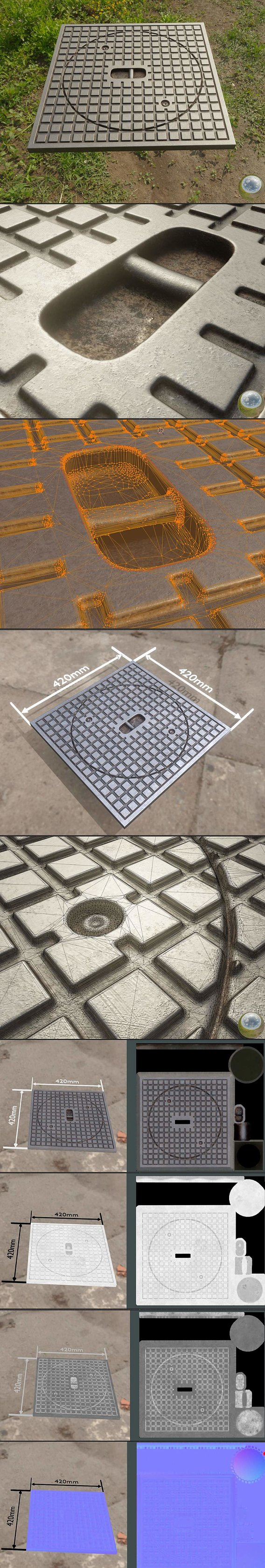 Sewer Cover 5 High-Poly PBR-Textured Version (Blender-2.92 Eevee)