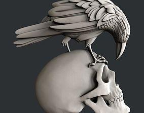 3d STL models for CNC raven skull