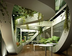 Spacious Lobby With Plants 3D model