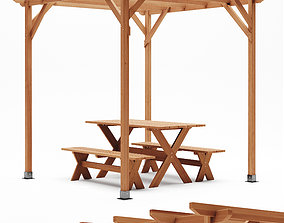Merry Products Picnic Table Set 3D model