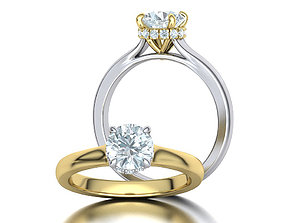 engagement Classic Engagement ring 3dmodel with 1ct stone
