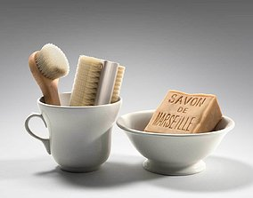 3D model Bowl Cup Brushes and Soap