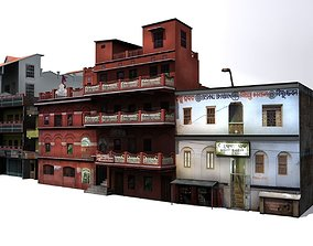 3D model Group of Indian Buildings Low Poly