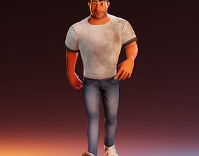 3D model animated Construction Worker Walkcycle