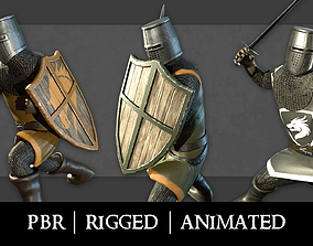 3D asset animated Knight with a shield