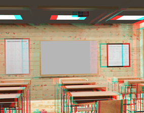 3D asset classroom 12place for physics