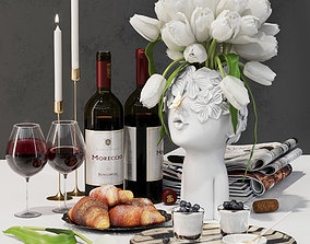3D asset Decorative set aristocrats breakfast