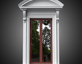 Classical window with curved pediment 3D model