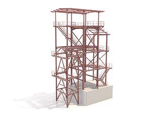 3D Metal platform with ladders
