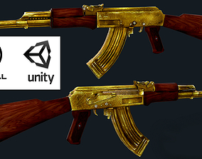 3d low-poly Golden AK-47 Low-poly 3D Model