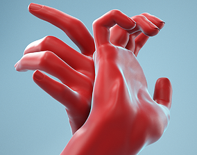 Leaning Back to Back Relaxed Realistic Hand Model 22