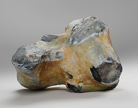 3D asset realtime Scanned Big Flint Stone Rock