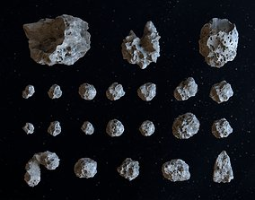 Detailed asteroids high-poly set 3D