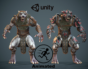 3D model animated Armored Werewolf Commander