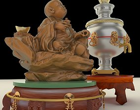 3D model display Chinese gold ingot and tea pot