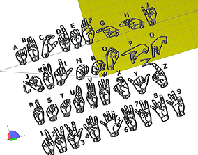 3D print model American sign language sysmbols