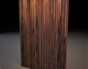Wall panel with wood sticks and gold metal 3D model