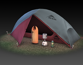 Low Poly Backpacking Gear Collection 3D asset