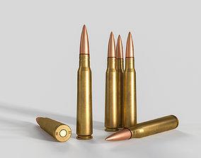 3D model Soviet or Russian cartridge 12-7x108 for DShK 1